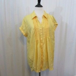 Coldwater Creek Yellow Pleated Top S 6 8
